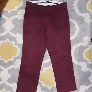 Gap stretch burgundy capri chino pants
